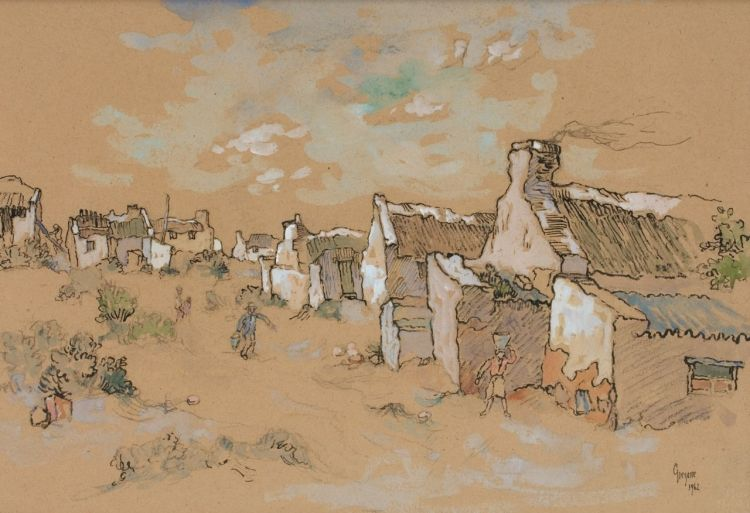 Gregoire Boonzaier; Figures fetching Water outside Cottages