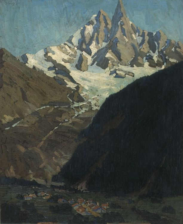 Clément Sénèque; An Alpine Landscape with a Village
