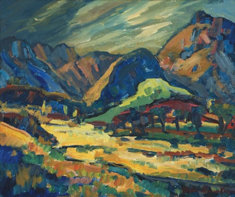 Stefan Ampenberger; An Extensive Mountain Landscape with Trees