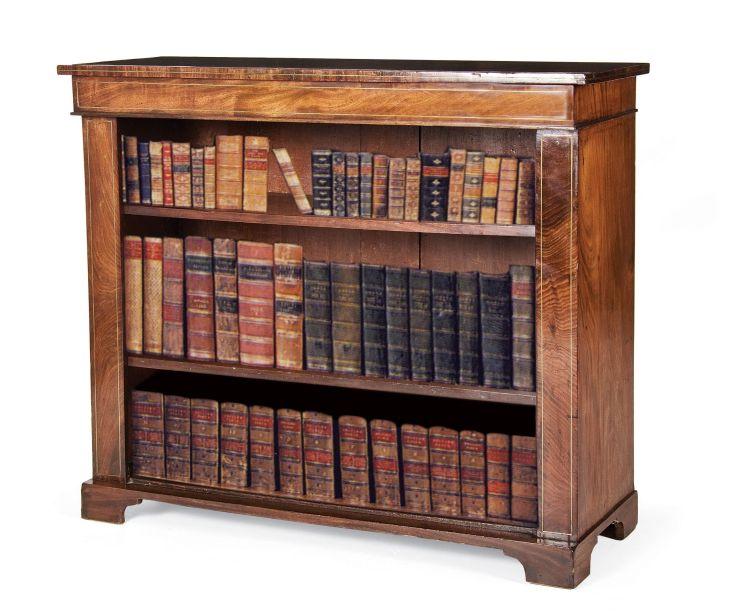 A Regency mahogany and brass inlaid bookshelf