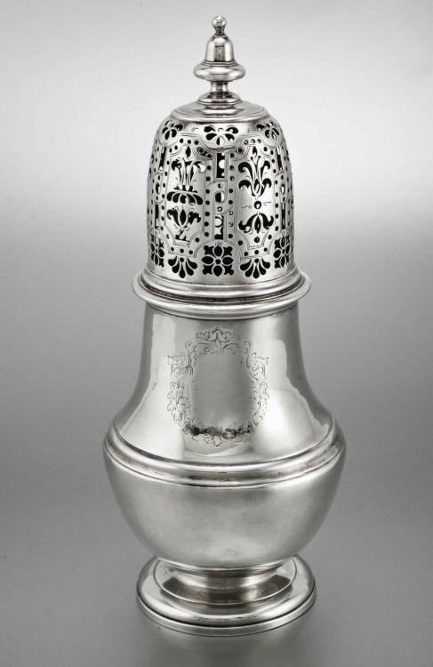 A Queen Anne silver sugar caster, John Keigwin, London, 1710