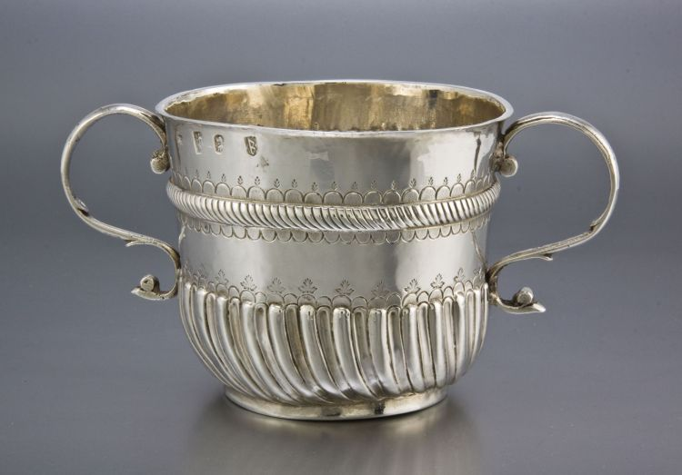 A William III silver two-handled porringer, Nathaniel Lock, London, 1697