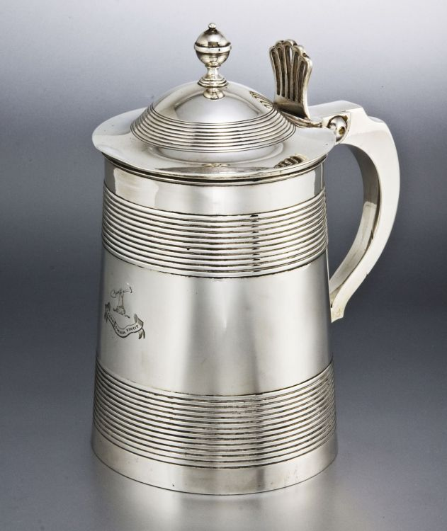 A George III silver lidded tankard, Timothy Renou, London, 1801