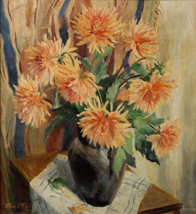 Emily Isabel Fern; Dahlias in a Vase