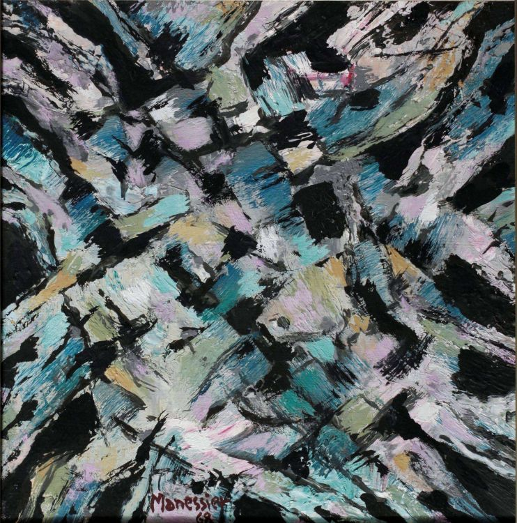 Alfred Manessier; Abstract in Black, Pink and Turquoise
