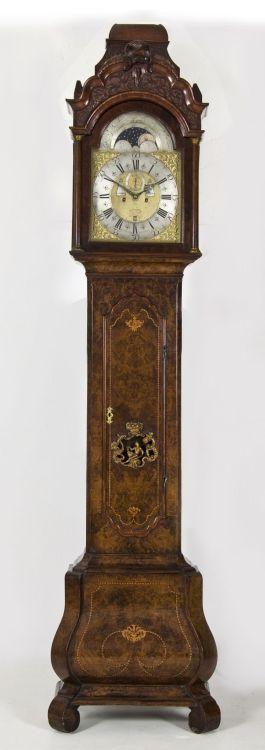 A Dutch burr-walnut longcase clock, 19th century