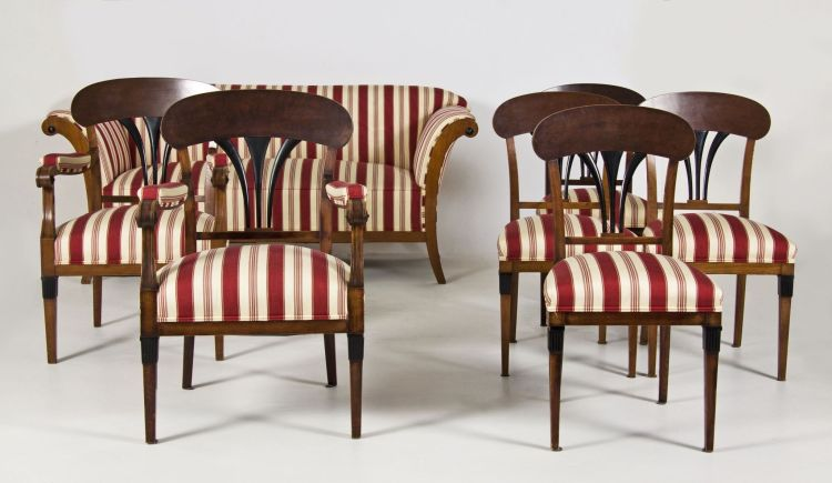 A Biedermeier style cherrywood and ebonised seven-piece salon suite, late19th/early 20th century