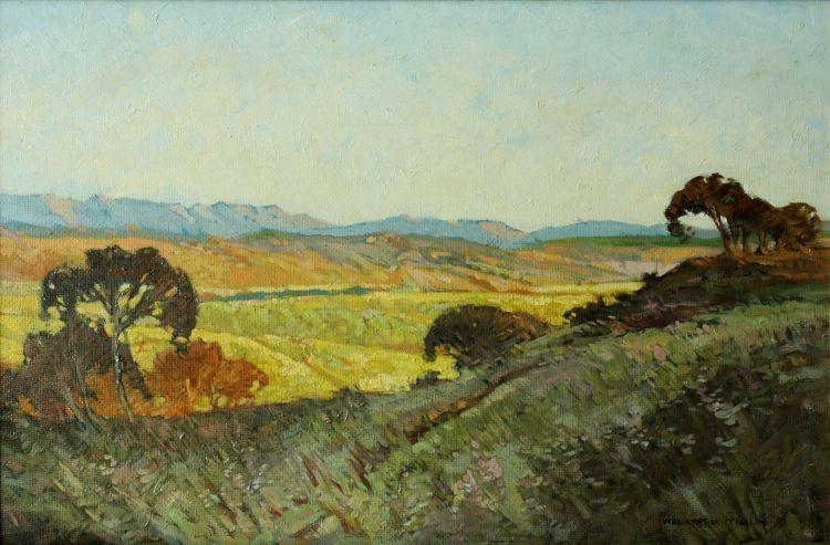William Timlin; Extensive Landscape at Dusk