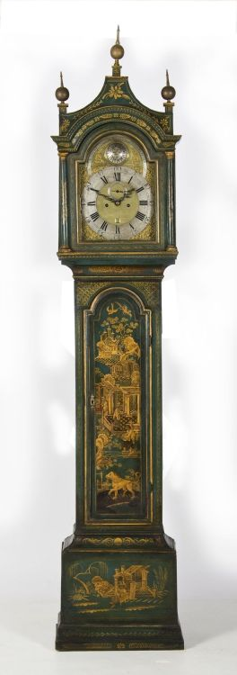 A green and gilt japanned longcase clock, 18th century