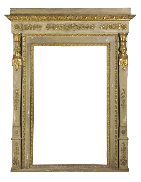 A French Directoire painted and parcel-gilt trumeau, early 19th century