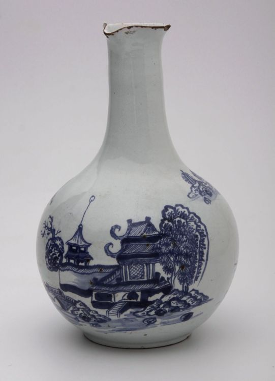 An English delftware blue and white gugglet, circa 1750