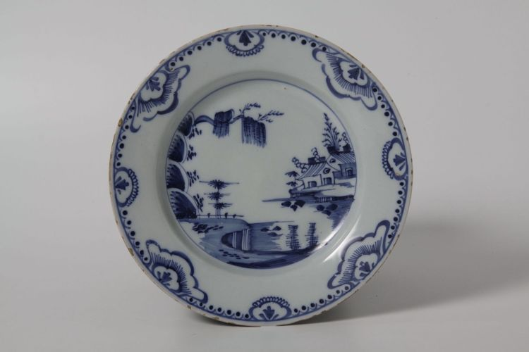 An English delftware blue and white plate, mid 18th century