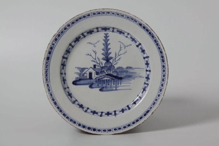 Two Liverpool delftware blue and white plates, circa 1760