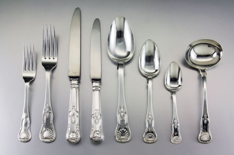 An assembled set of Scottish 'Kings' Pattern table silver, various makers, Edinburgh, 1833 - 1862