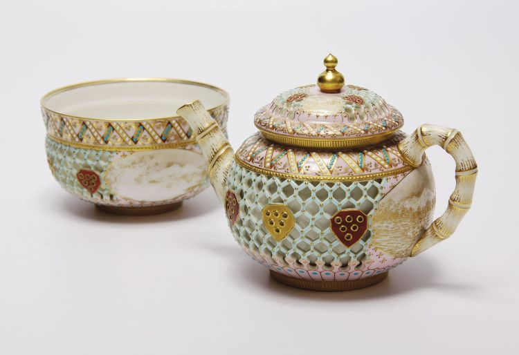 A Royal Worcester reticulated teapot and sugar bowl, 1885