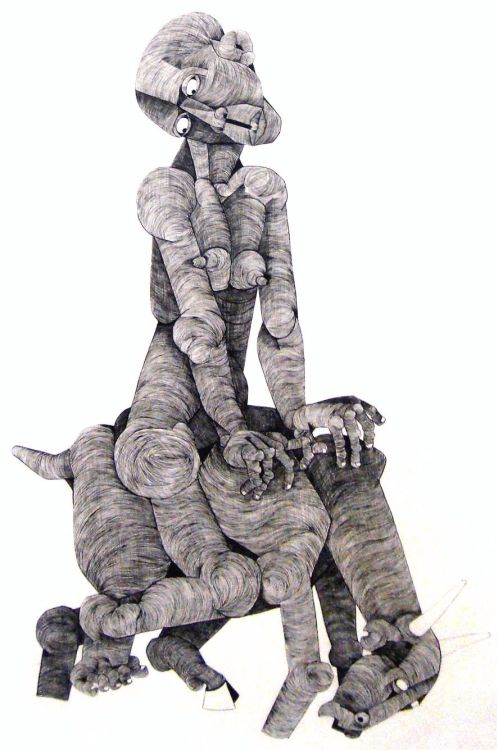 Nat (Nathaniel) Mokgosi; A Figure Riding a Beast