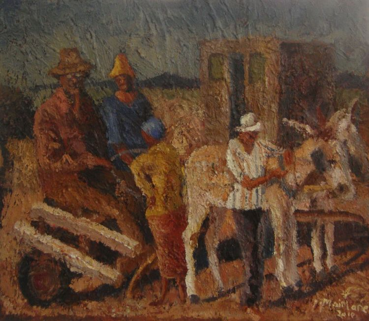 Michael Maimane; A Donkey Cart with Figures Outside a House