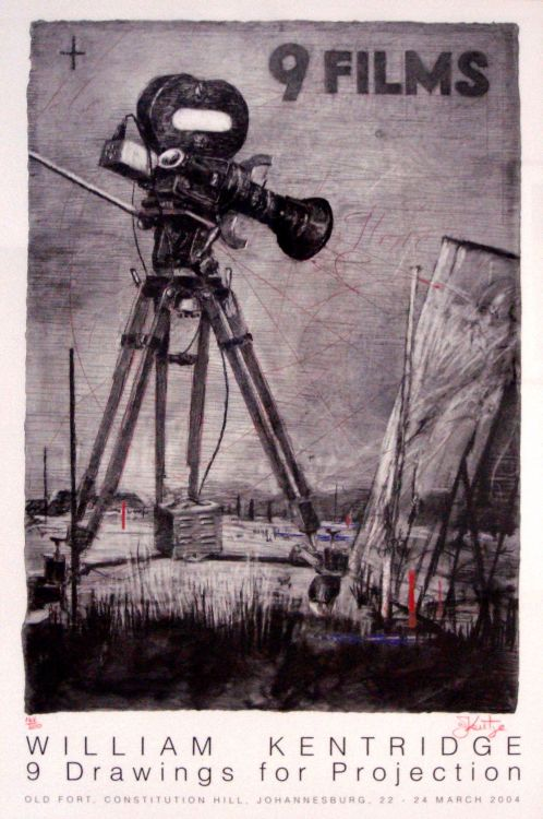 William Kentridge; 9 Drawings for Projection, Old Fort, Constitution Hill, Johannesburg, 22nd to 24th March 2004, Poster