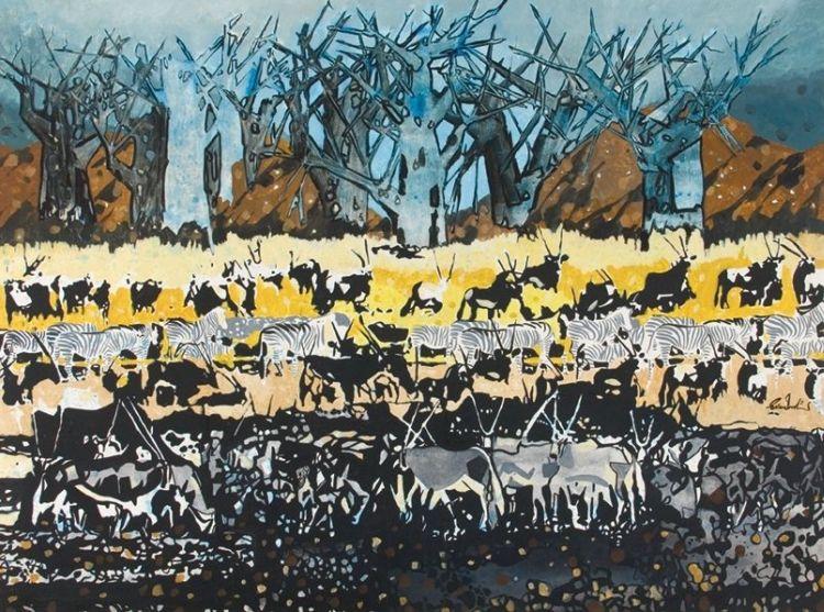 Gordon Vorster; Gemsbok and Zebra in a Winter Landscape