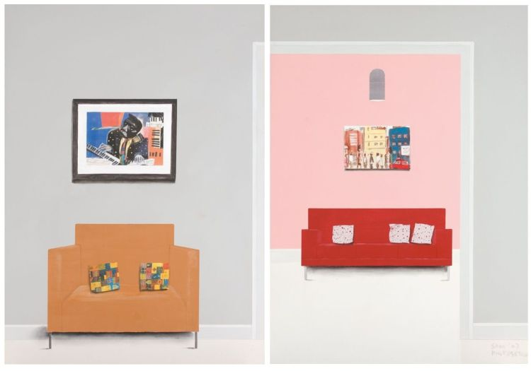 Sam Nhlengethwa; Salmon and Purple Couch, (diptych)