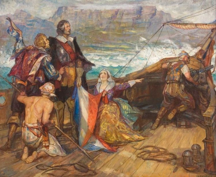 John Henry Amshewitz; The Arrival of Jan van Riebeeck at the Cape,1652