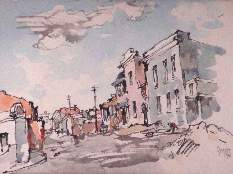 Gregoire Boonzaier; Street Scene, District Six, Cape Town