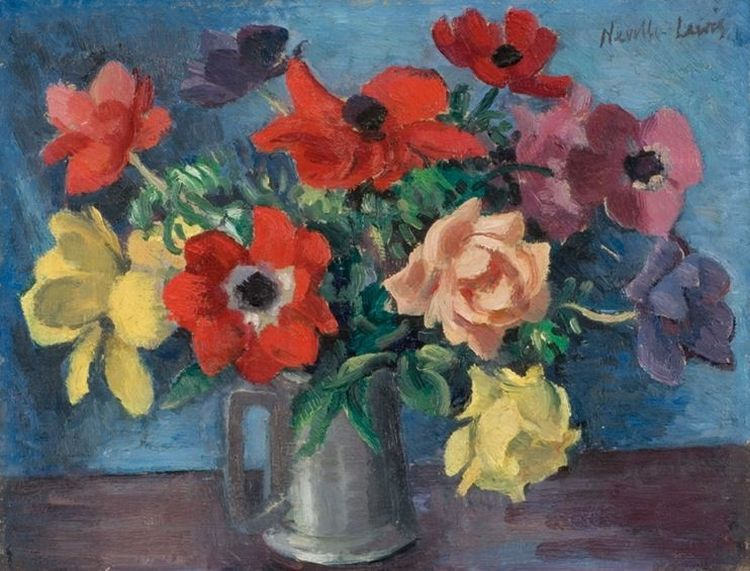 Alfred Neville Lewis; Still Life of Roses in a Pewter Beer Mug