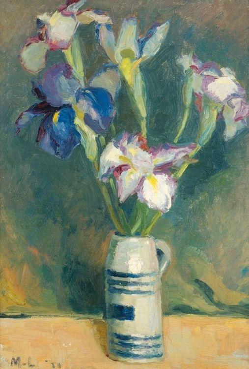 Maggie Laubser; Irises in a Beermug