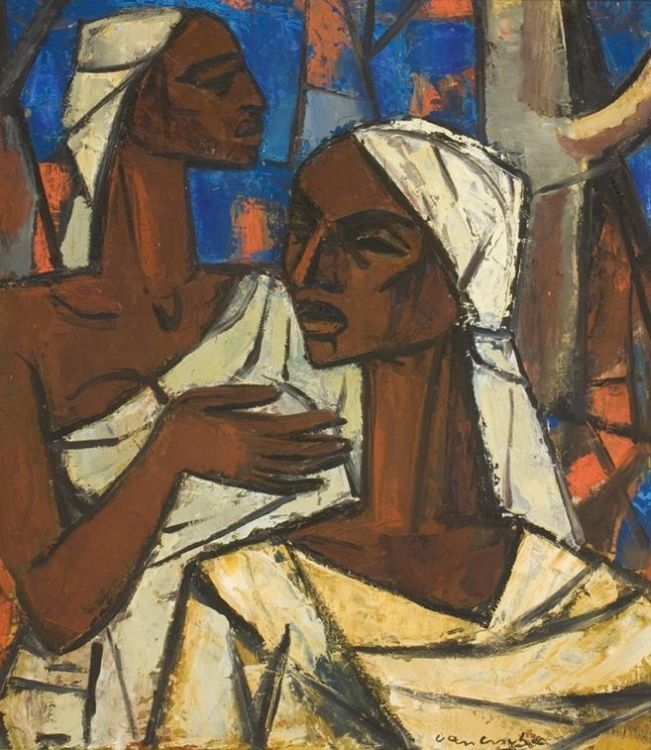 Maurice van Essche; Two Congolese Women in a Landscape