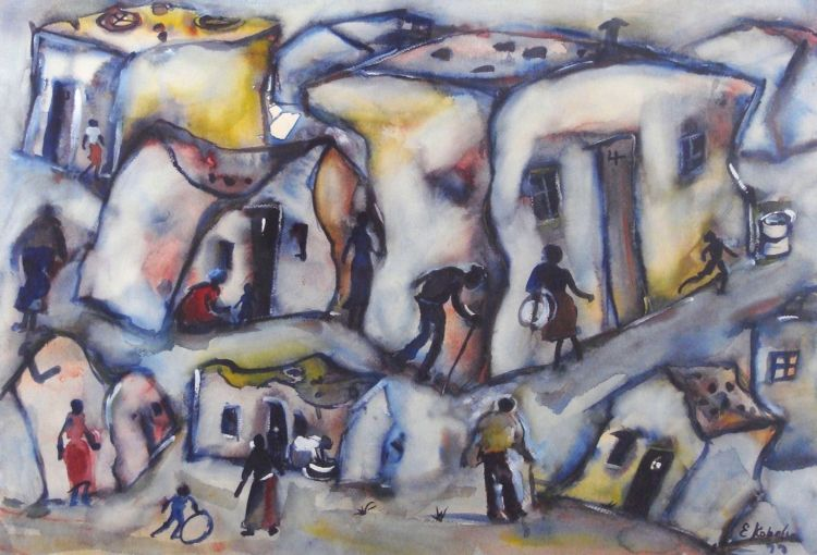 Eli Kobeli; A Township Scene with Figures and Children