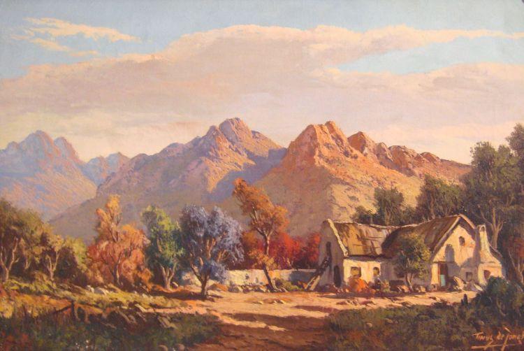 Tinus de Jongh; A Cottage in a Mountainous Landscape