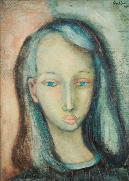 Alexis Preller; A Portrait of a Young Girl with Blue Eyes and Dark Hair