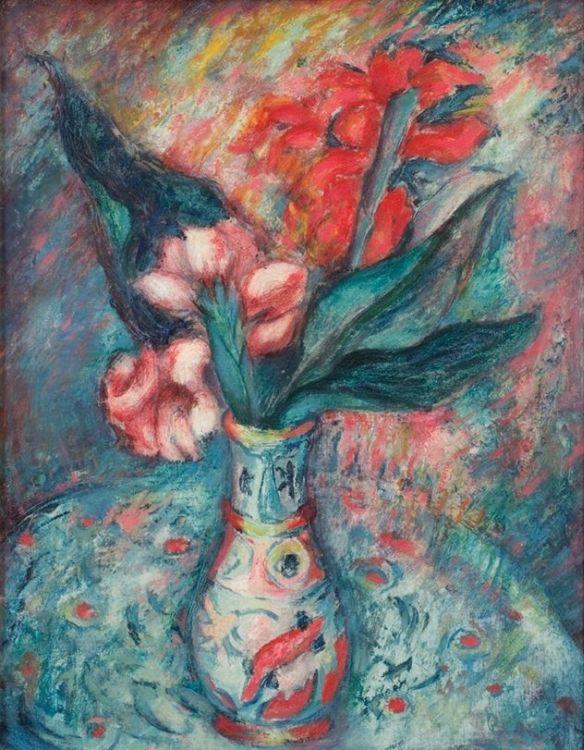 Alexis Preller; Flowers in a Persian Vase