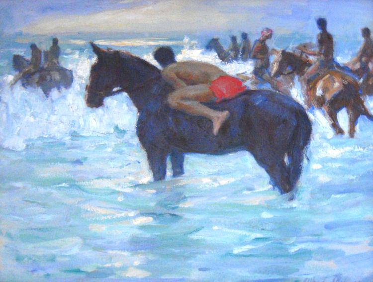 Alfred Palmer; Figures on Horseback in the Breakers