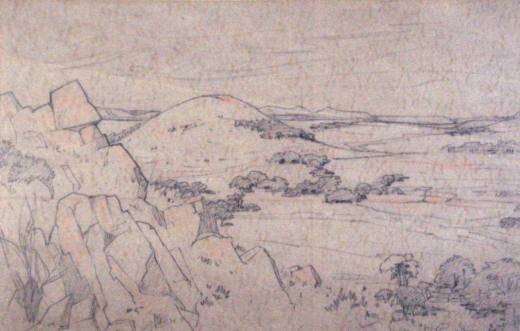 Jacob Hendrik Pierneef; An Extensive Mountainous Landscape