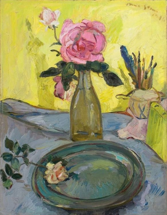 Irma Stern; A Still Life with Roses and the Artist's Brushes in a Pot