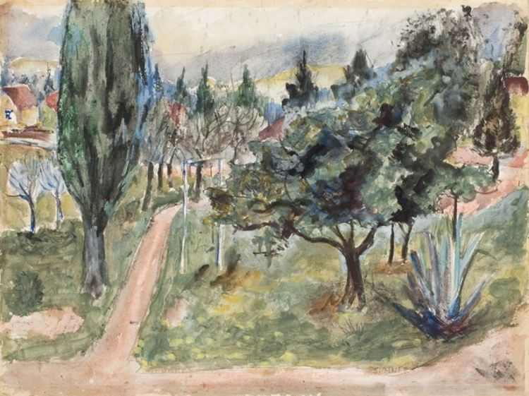 Maud Sumner; A View of a Park Pathway and a Swing