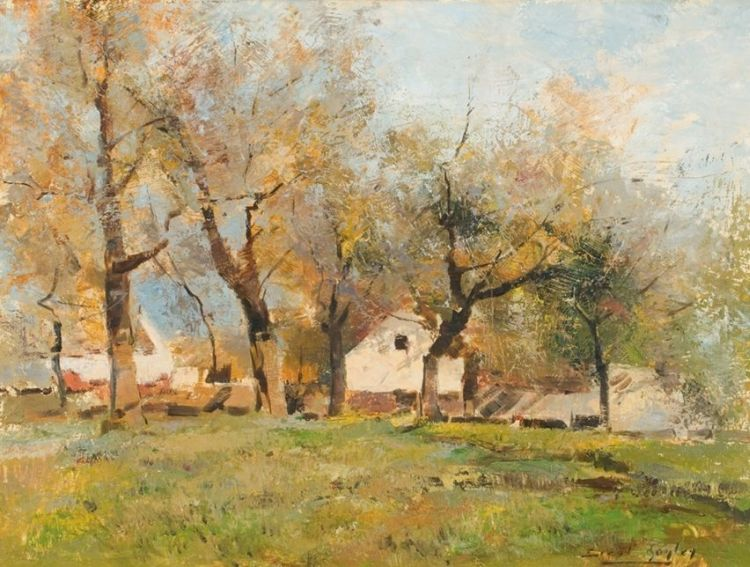 Errol Boyley; Green Landscape with Houses