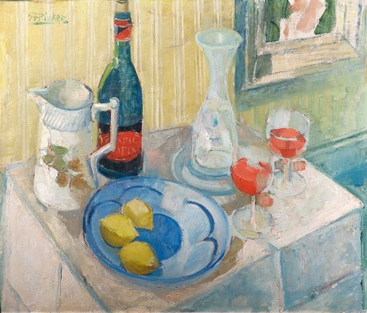 Stanley Pinker; Still Life with Wine, Lemons and a Jug