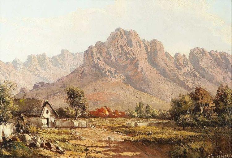 Tinus de Jongh; Landscape with Cottage