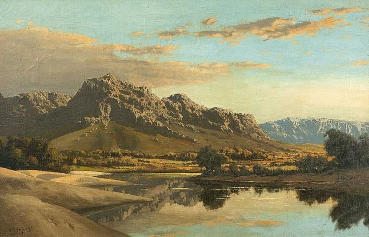 Tinus de Jongh; Cape Mountain Landscape with Vlei