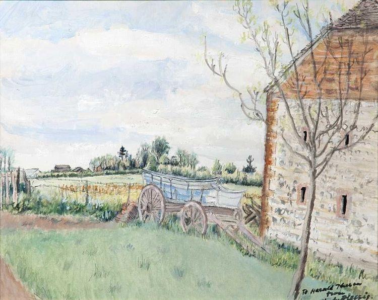 Enslin du Plessis; A Wagon by a Farmhouse