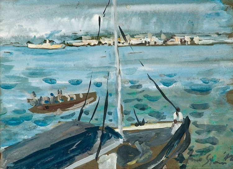 Irma Stern; Boats in a Harbour