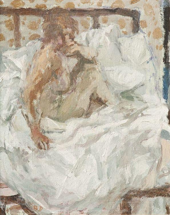 Bernard Dunstan; Nude Seated on Bed