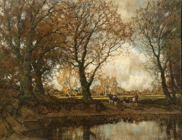 Arnold Marc Gorter; Cattle Watering at the Vordense Beek