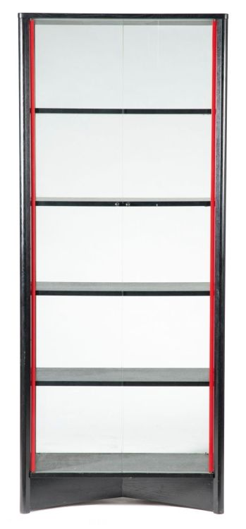 A Cassina black and red lacquer bookcase, modern