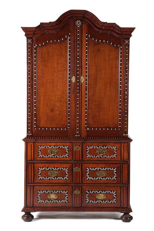 A Cape teak, cedarwood and inlaid armoire, 18th century