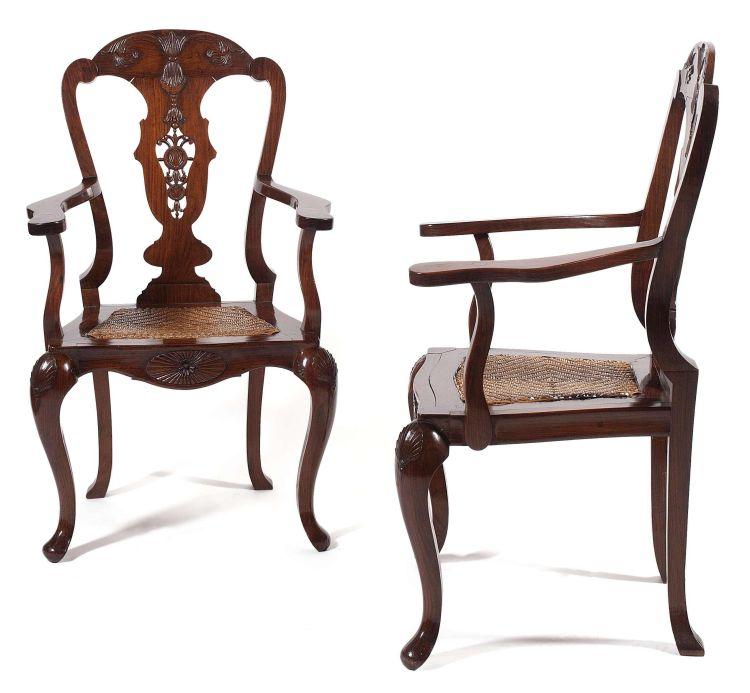 A pair of Dutch Colonial coromandel armchairs, 18th century