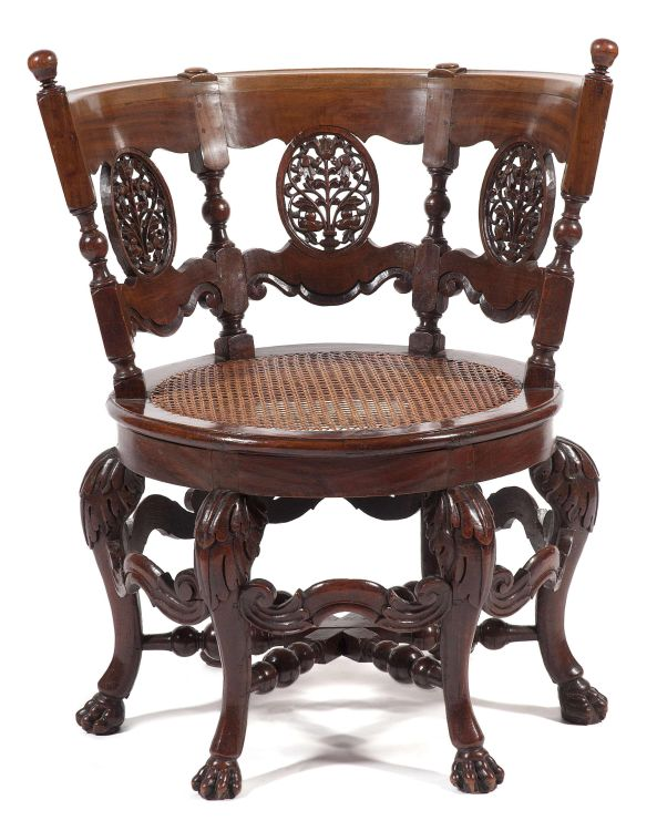 A Ceylonese teak and Satinwood 'Burgomaster' chair, early 19th century