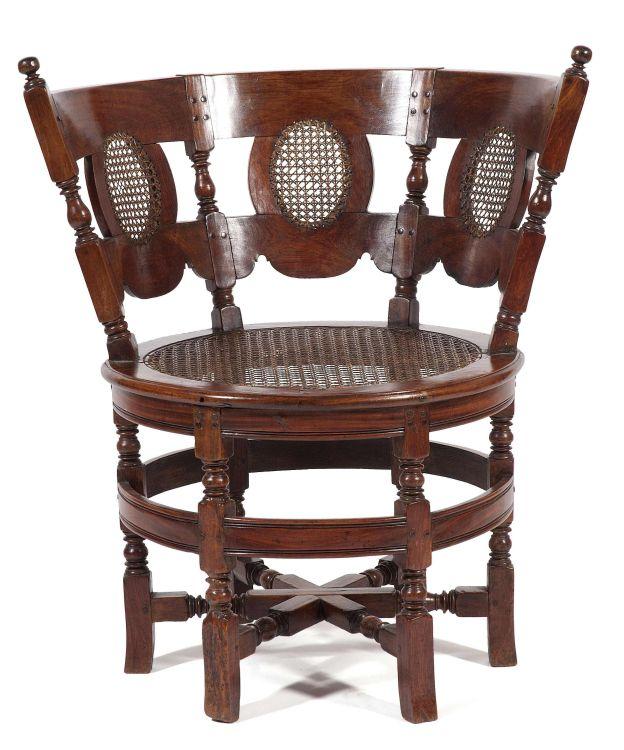 A Ceylonese satinwood 'Burgomaster' chair, 1700-1720